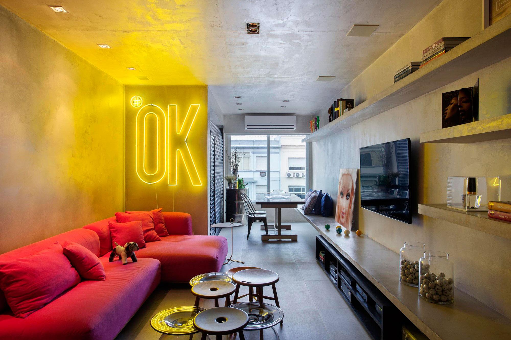 Sala Para Dois Ambientes 60 Projetos Integrados Fotos  -> Estante Gesso Sala Tv
