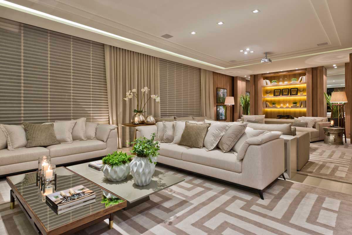 Sala para dois ambientes 60 projetos integrados fotos for Fotos d salas
