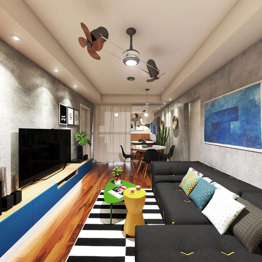 Sala Para Dois Ambientes 60 Projetos Integrados Fotos  -> Sala Planejados Para Apartamentos Pequenos