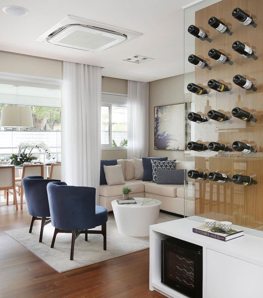 Sala Para Dois Ambientes 60 Projetos Integrados Fotos  -> Acabamento Sala Pequena
