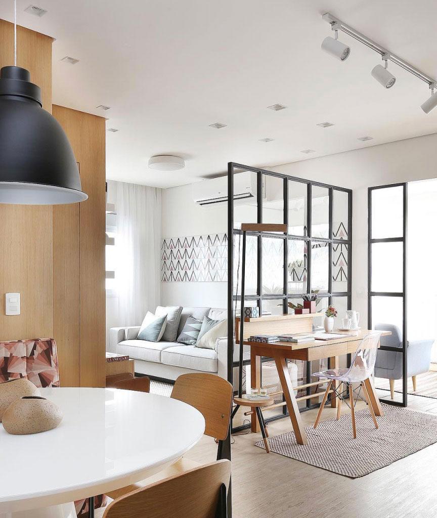Sala Para Dois Ambientes 60 Projetos Integrados Fotos  ~ Divisoria Para Cozinha E Sala