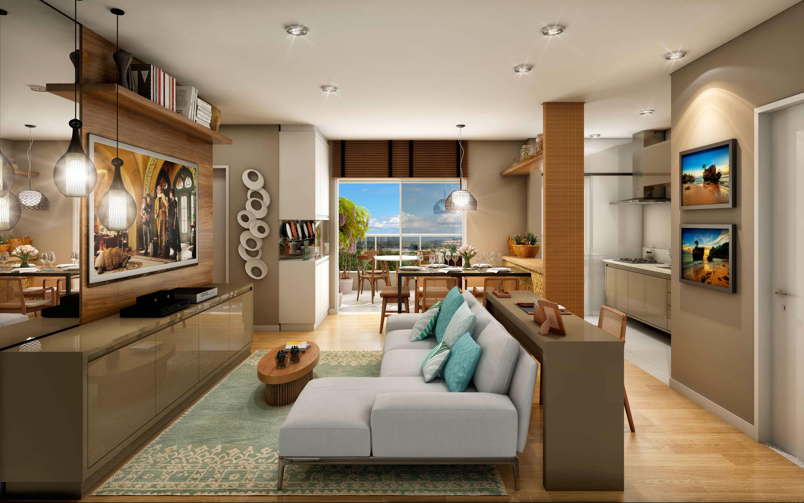 Sala Para Dois Ambientes 60 Projetos Integrados Fotos  -> Salas De Luxo Decoradas