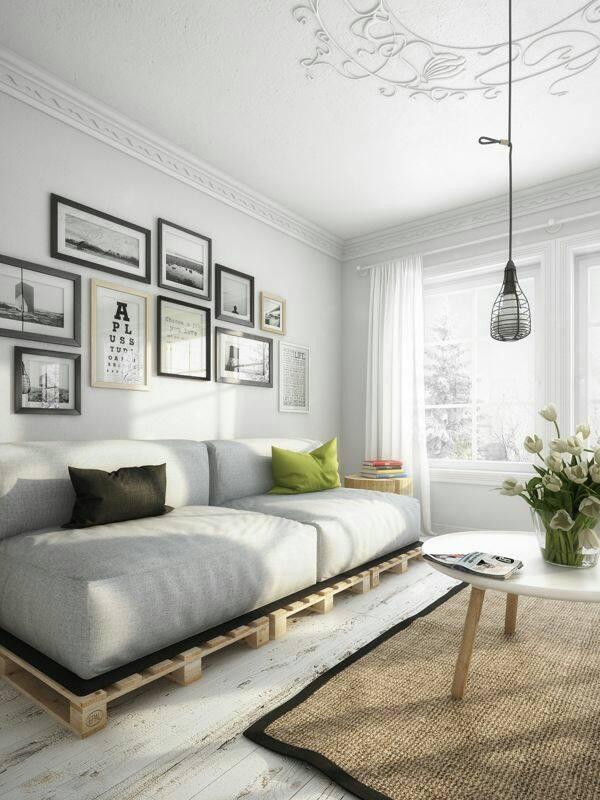 Sofá de pallet para a sala com almofadas cinza