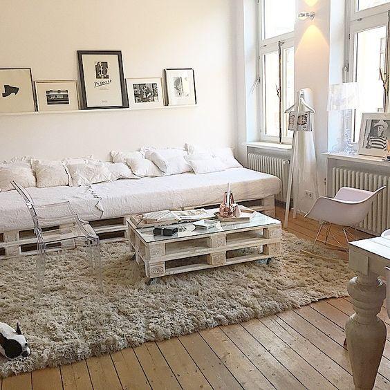 sofás de pallet para decoração estilo minimalista