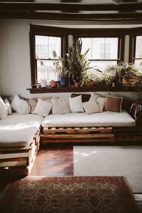 sofá de pallet de canto em L