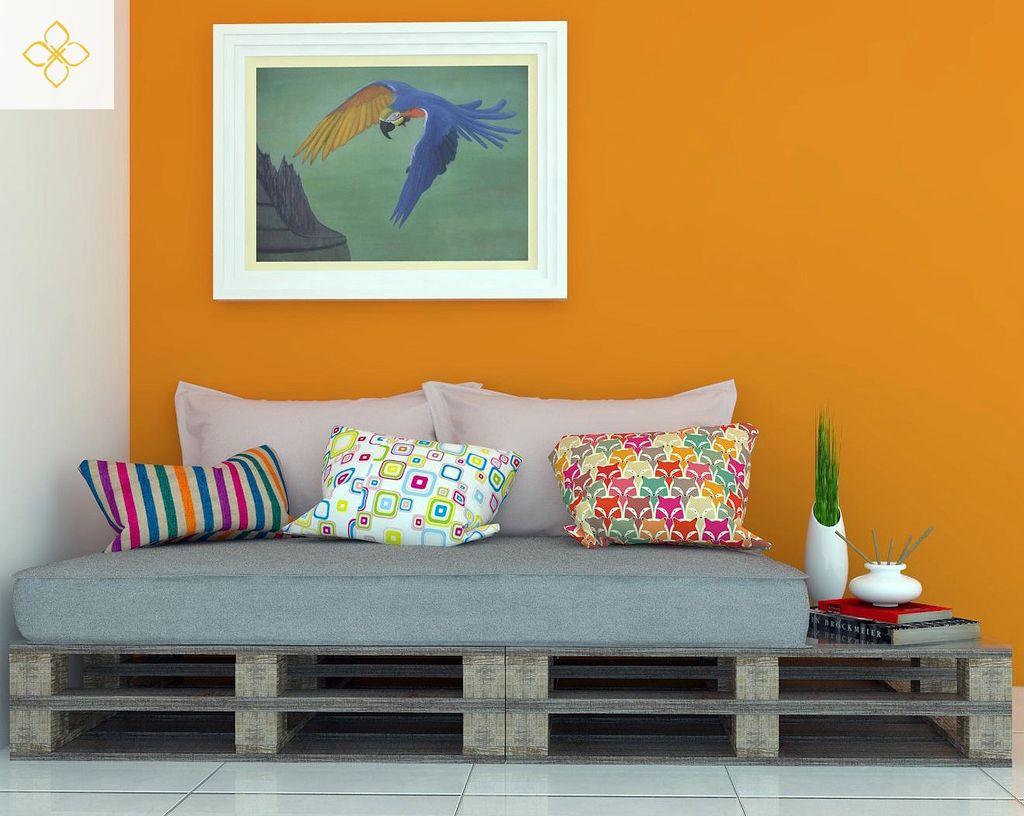 sofá de pallet simples: escolha almofadas e estofados coloridos