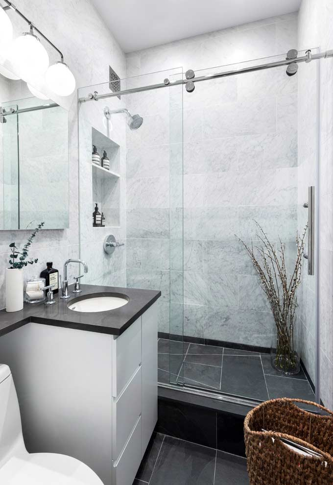Small Bathroom Remodel Grey And White