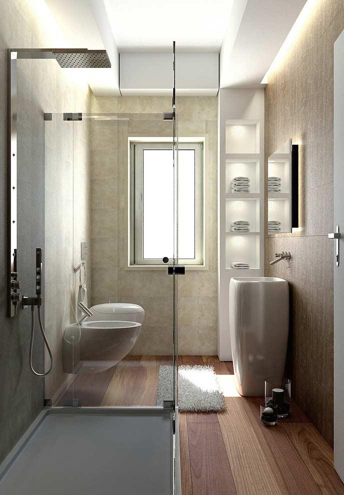 Banheiro pequeno com nicho de drywall