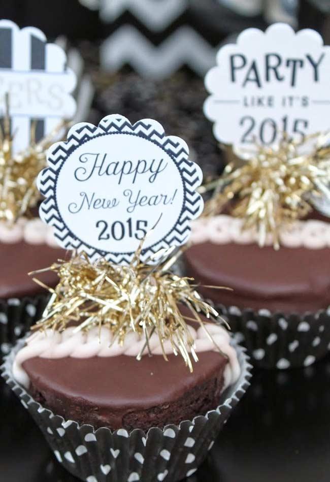 Cupcake para festa de ano novo e Revéillon