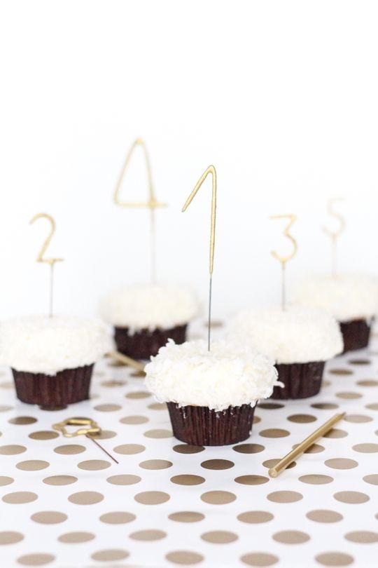Cupcakes com contagem regressiva para o ano novo