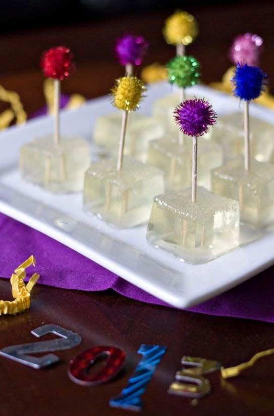 Gelatinas de champagne decoradas