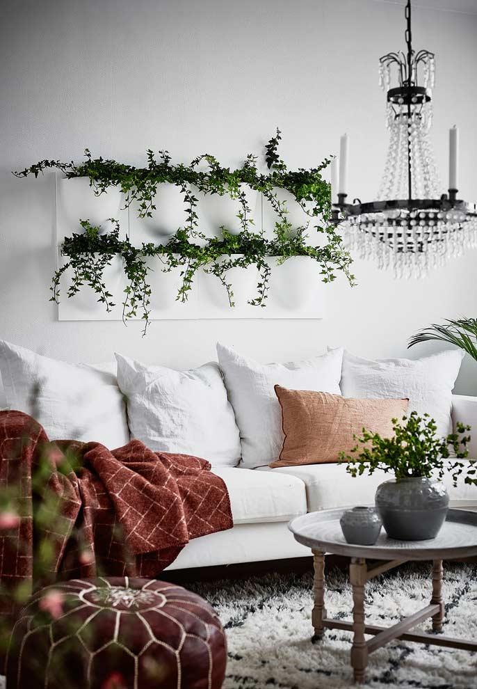 Plantas e bolsos na decoração da sala