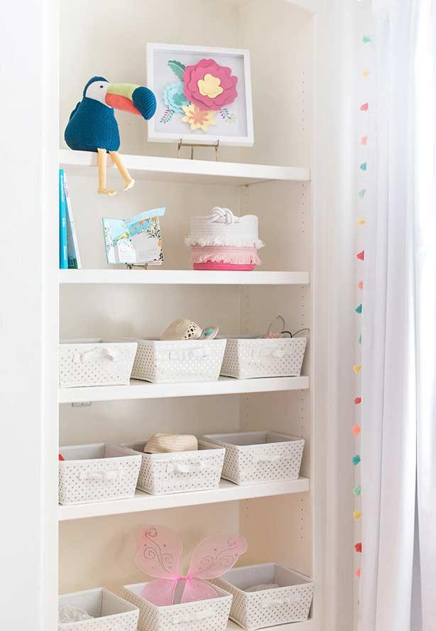 Caixas organizadoras para o quarto de menina