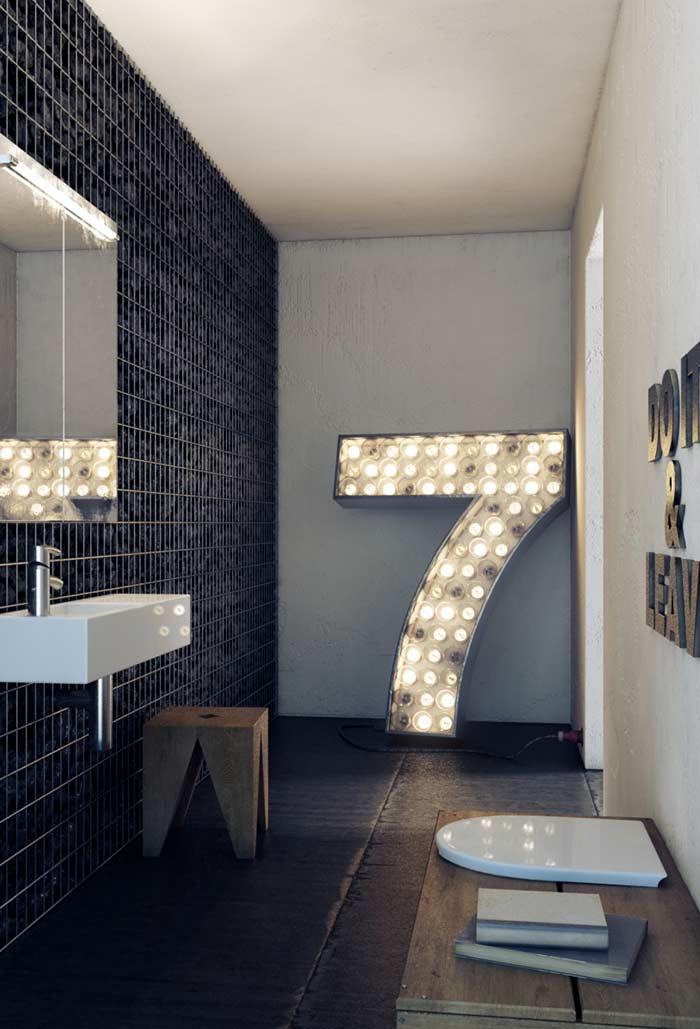Banheiro preto e branco glam