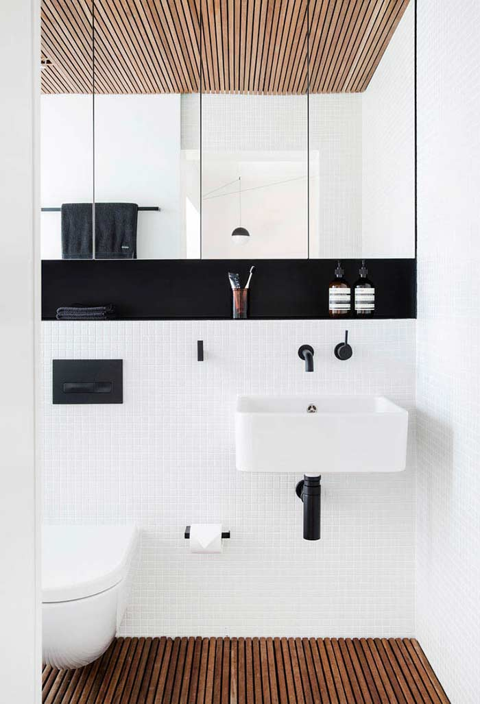 Banheiro preto e branco tendências