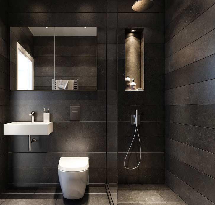 #474451 Banheiro Preto e Branco 65 Fotos Atuais de Decoração e Projetos 727x693 px Banheiro Simples Preto E Branco 2018 3799