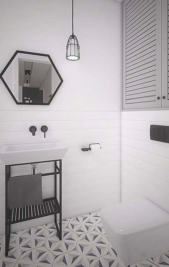 Banheiro branco minimalista