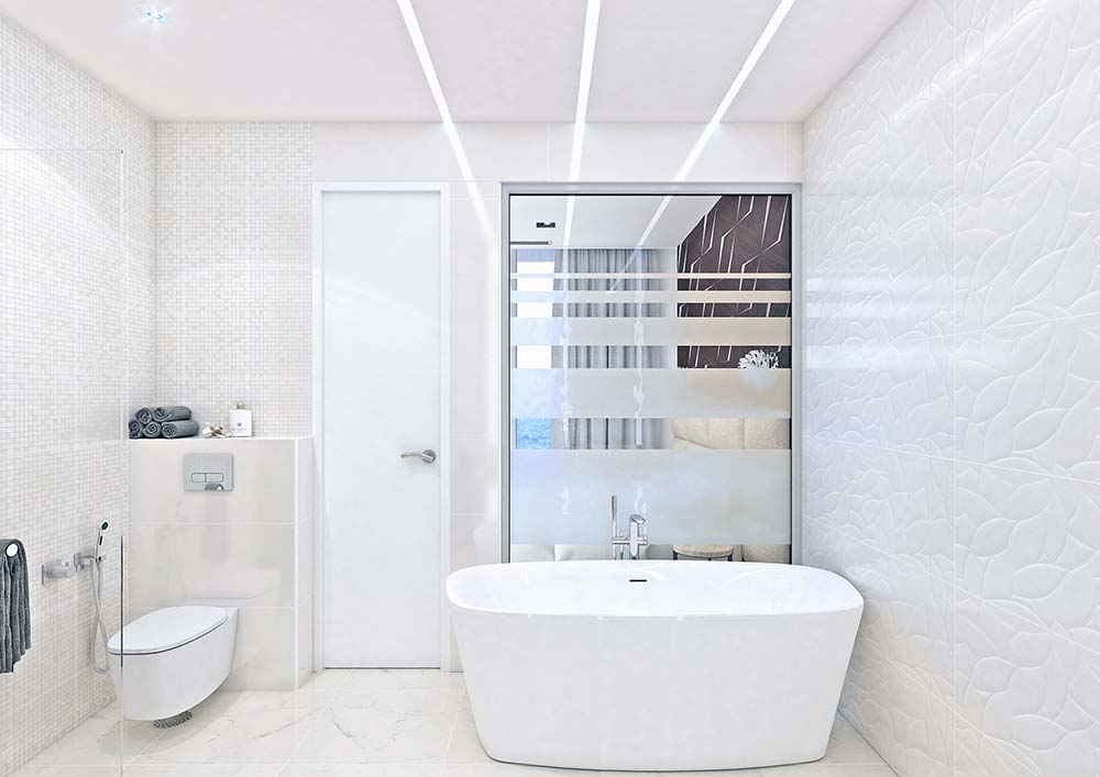 Banheiro branco com texturas