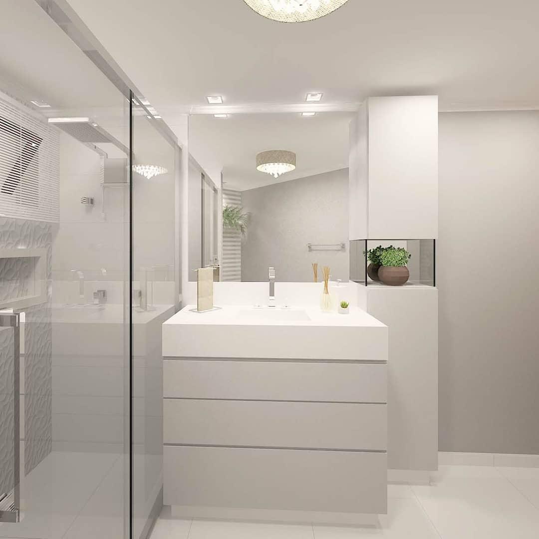 Banheiro branco com box