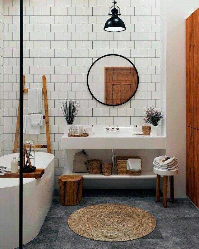 Banheira no estilo rústico