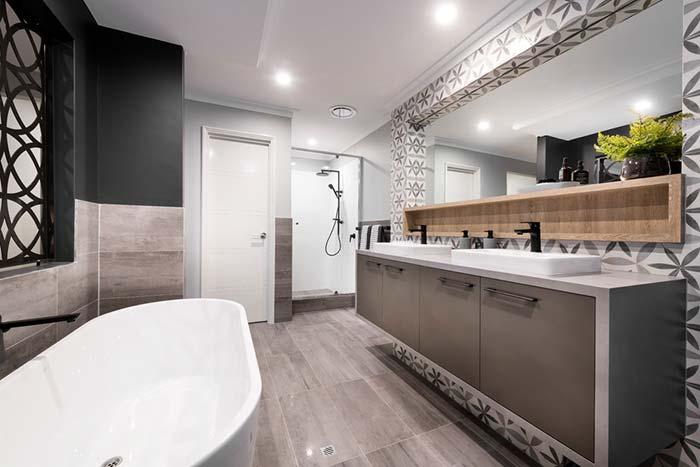 Banheira em projeto moderno e retrô