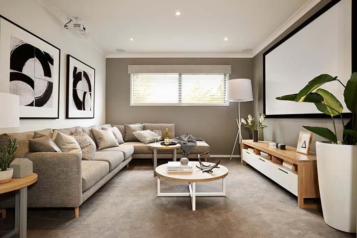 Sala de estar e cinema ao mesmo tempo