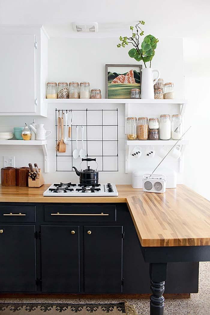 Cozinha rústica com toque de modernidade