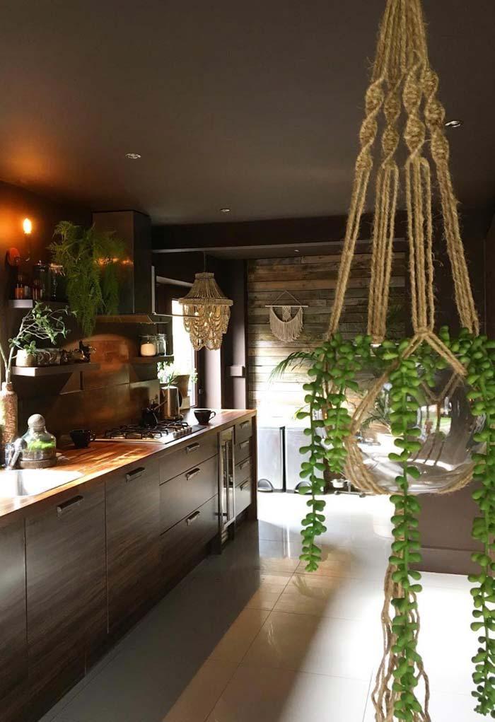 Um pendente com plantas