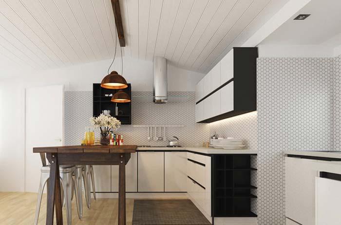 Cozinha rústica preta e branca