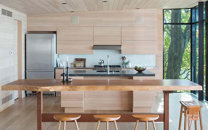 Unidade visual na cozinha rústica