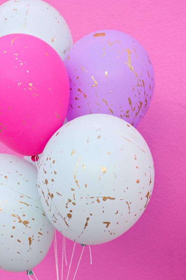 balões foram todos respingados de tinta