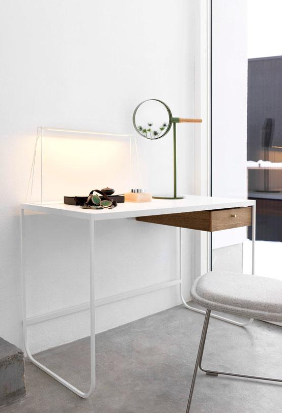 Escrivaninha minimalista de ferro branca