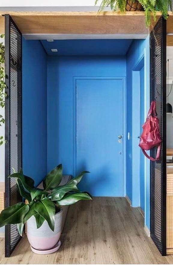 Hall de entrada todo azul