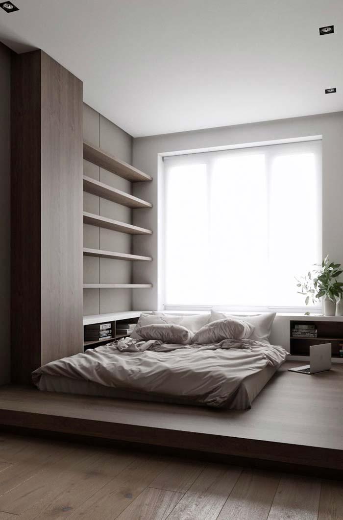 Quarto de casal pequeno com cama japonesa