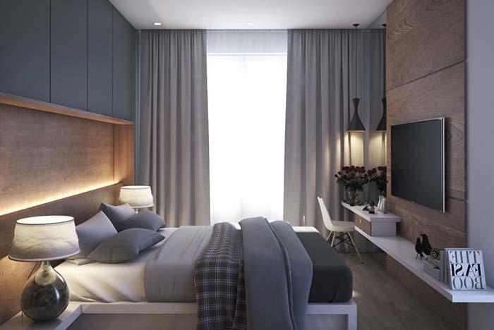 Rústico da madeira com a sobriedade do cinza para criar um quarto aconchegante