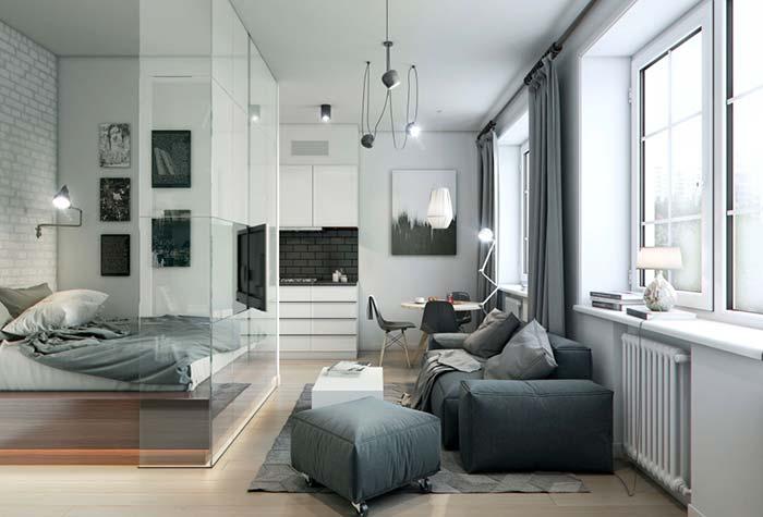 Quarto com paredes de vidro