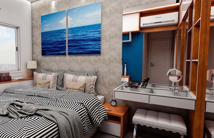 Para ganhar espaço, encoste a cama na parede