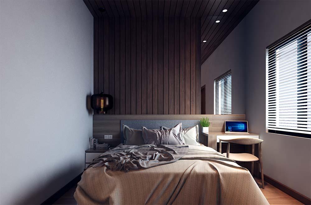 Painel de madeira combinando com o teto