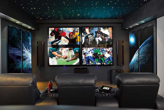 Sala para consoles e cinema