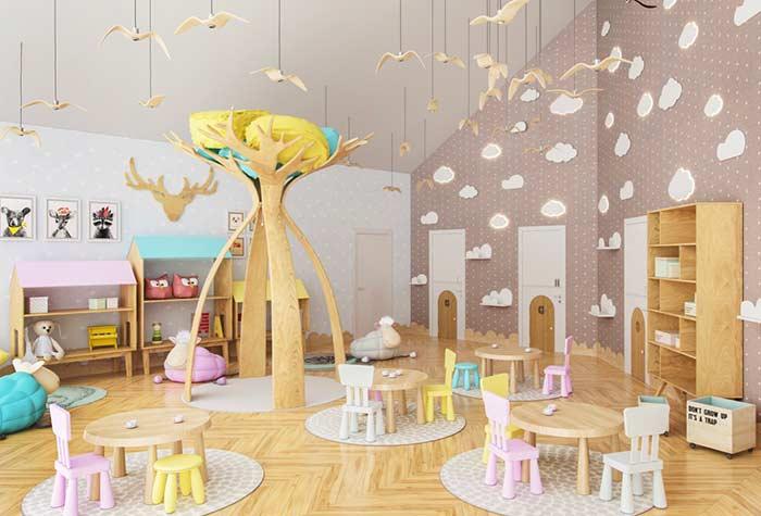 Sala de jogos adaptada na altura das crianças