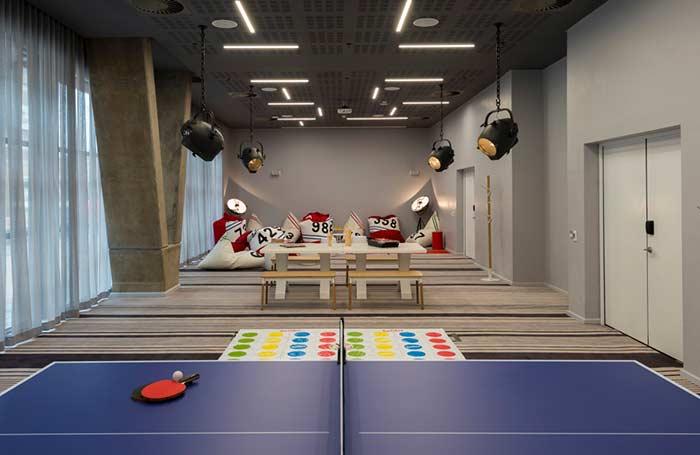 Sala de jogos super tecnológica