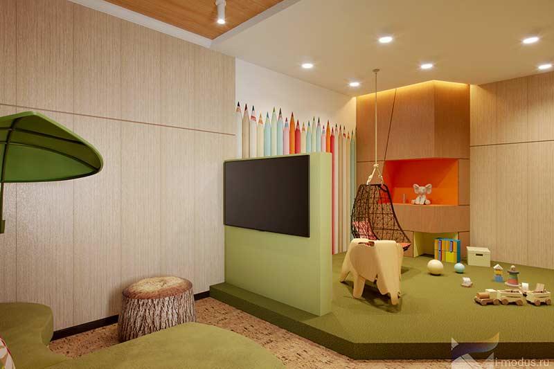 Dois ambientes na mesma sala inspirados por crianças