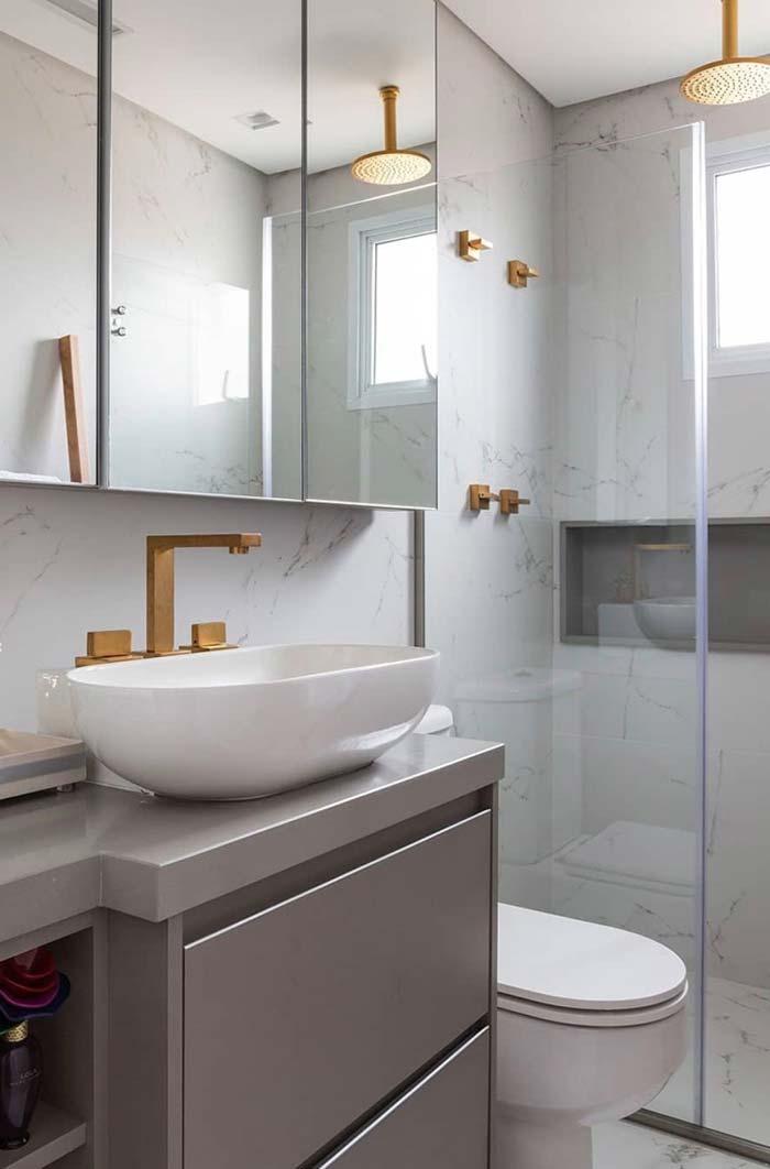 Banheiro pequeno simples e bonito Inspirao de decor Banheiros