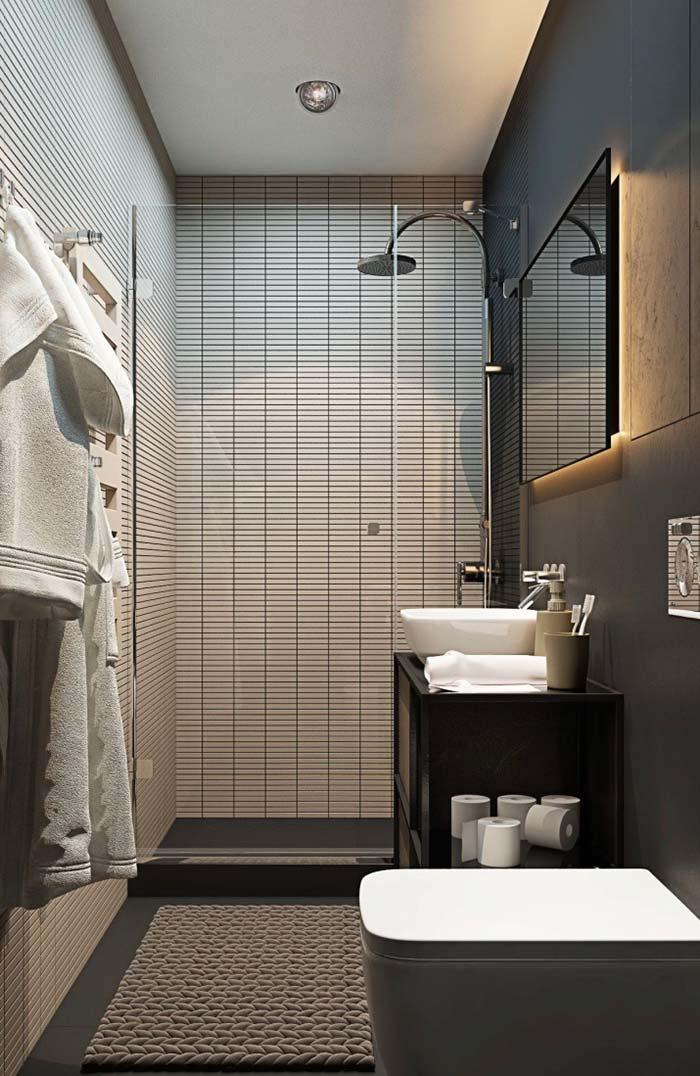 Banheiro pequeno com box de abrir