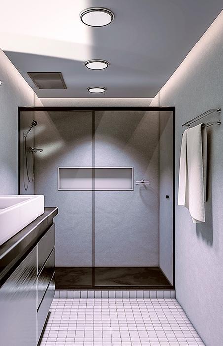 Porta de box fumê em banheiro branco