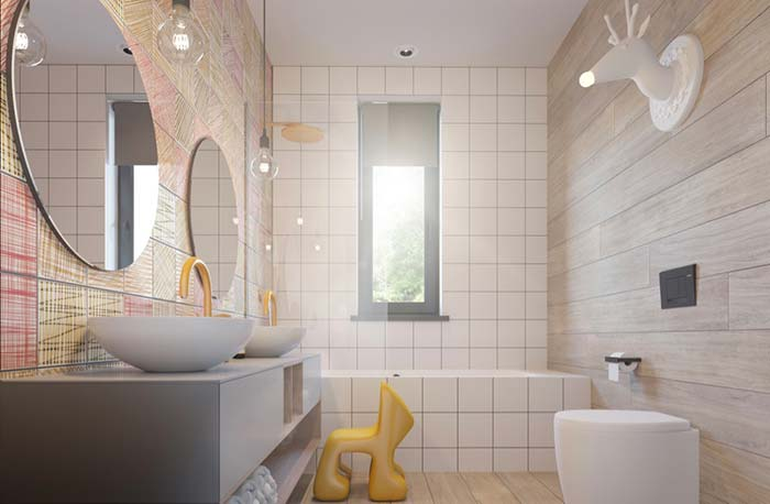 Área do banho protegida por vidro