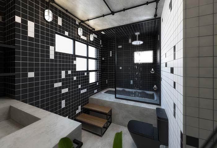 Vidro texturizado distorcendo a área de banho
