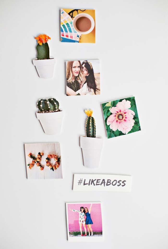 Imãs e adesivos em formato de cacto para dar um toque a mais de estilo e frescor na decoração