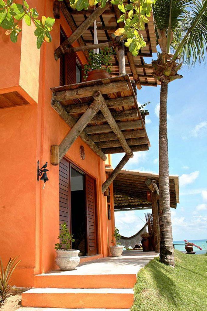 Cores de casas: laranja para casa de estilo rústico