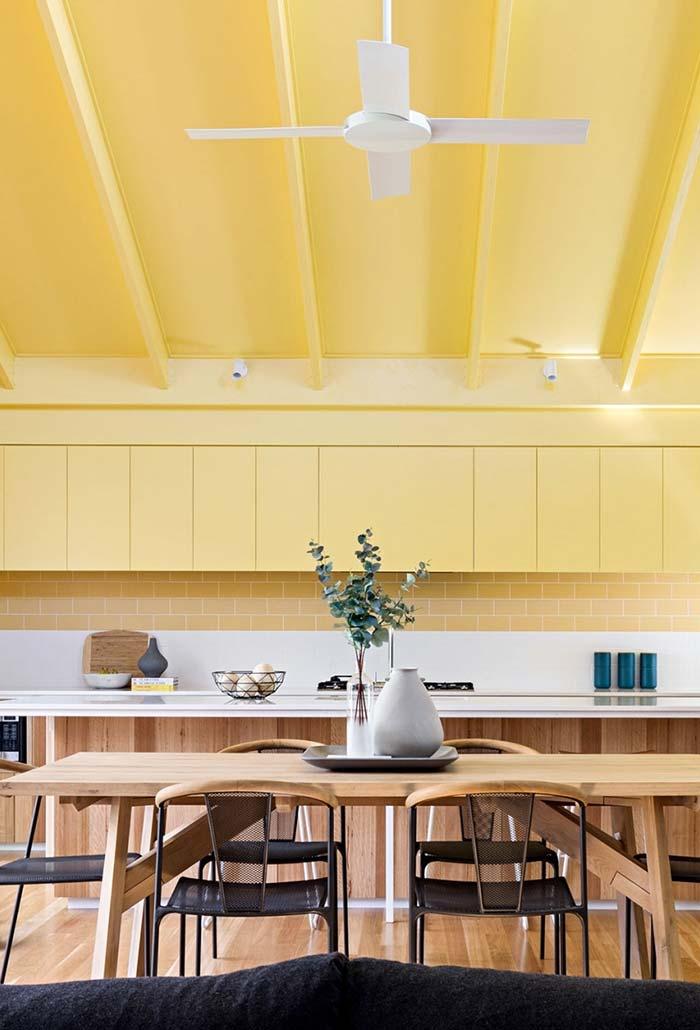 Cozinha amarela: ambiente bicolor
